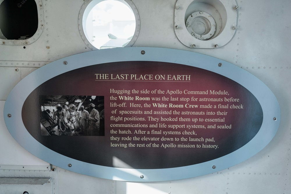 Sign in the White Room, the last stop for astronauts before the went into the command module.