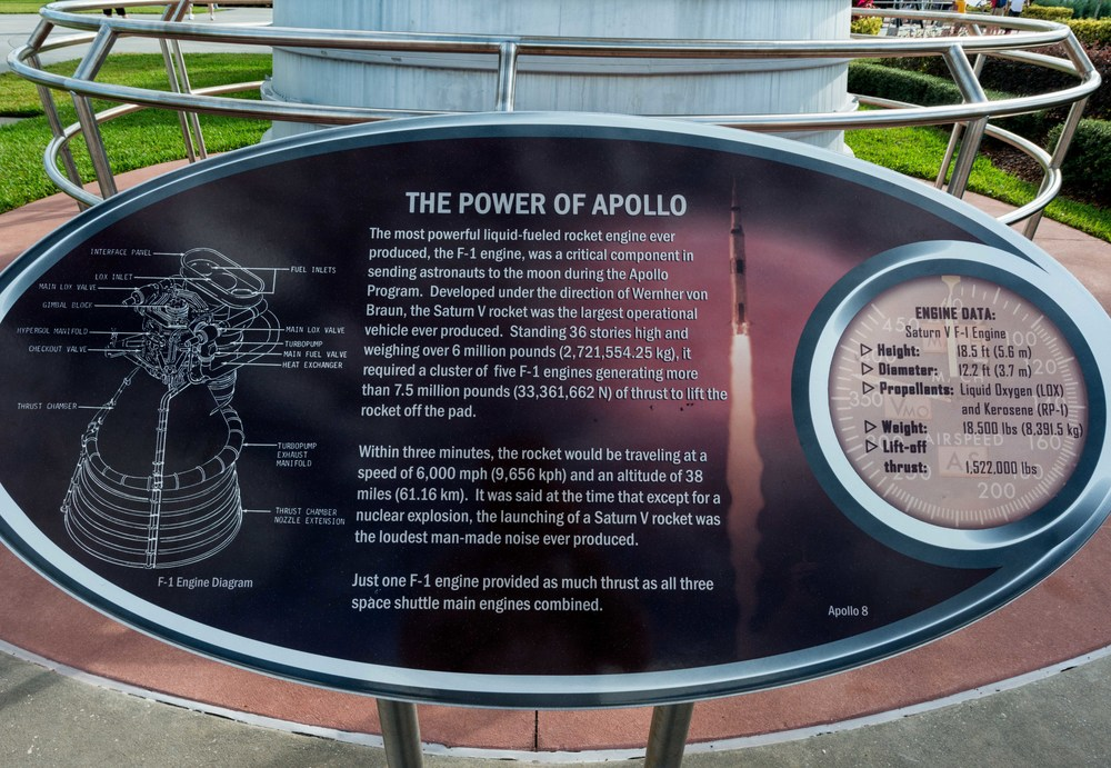 F1-Engine - The Power of Apollo Rocket Garden, Kennedy Space Center Visitor Complex, Florida.