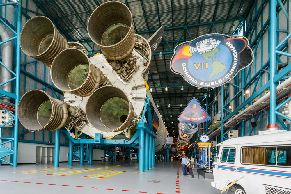 The Apollo / Saturn V Center features a 363-foot moon rocket.