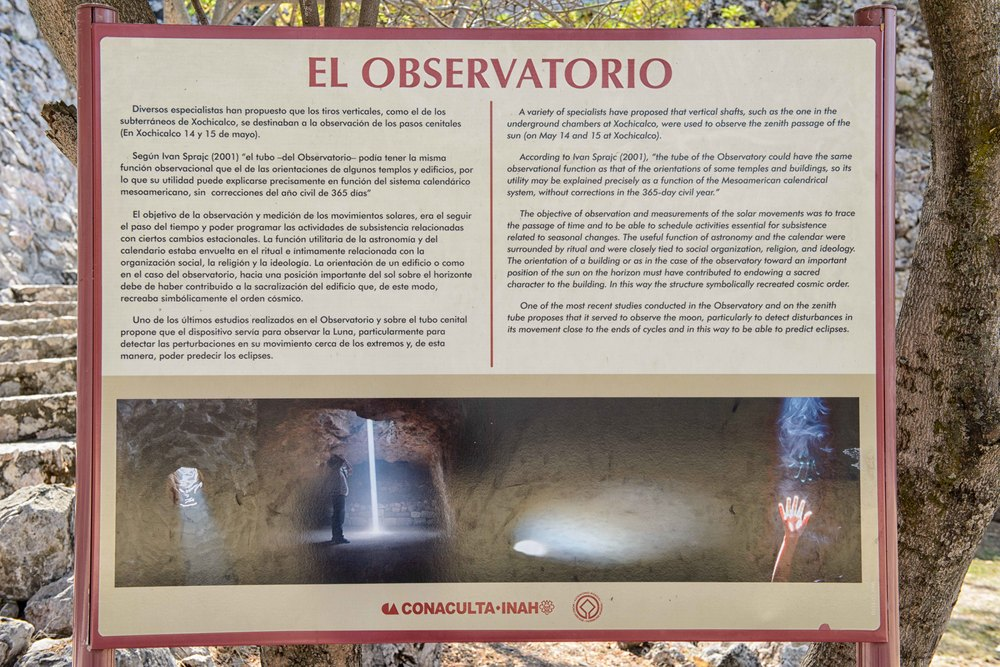 Entrance to the a stronomical observatory of Xochicalco. The observatory is a cave modified to allow study of the movement of the sun.