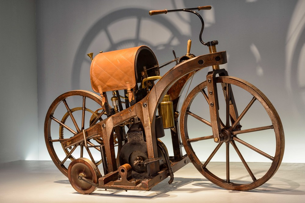 """""""Riding Car"""" , 1885.  For Gottlieb Daimler and Wilhelm Maybach, the riding car was an early test vehicle for their small high-speed internal combustion engine, the so-called Grandfather Clock."""