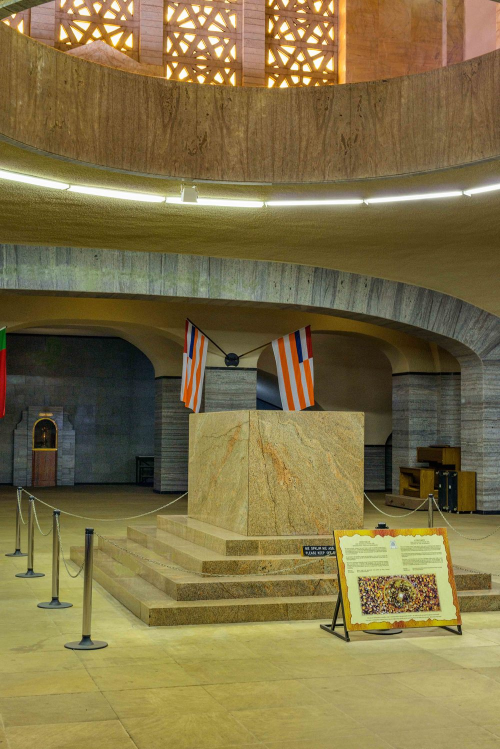 The Cenotaph, situated in the centre of the Cenotaph Hall, is the central focus of the monument.