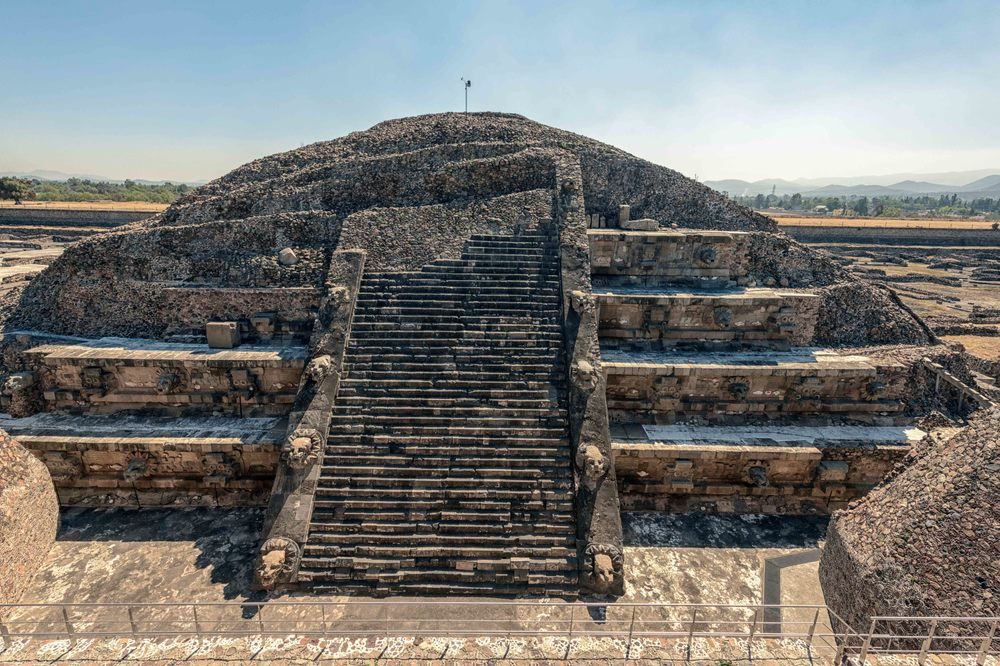 The Feathered Serpent Pyramid is a six-level  step pyramid  built in the  talud-tablero  style. The structure is also known as the Temple of Quetzalcoatl. The pyramid was built at the beginning of the Avenue of the Dead.