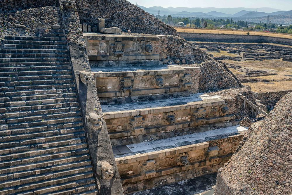 Pyramid of the Feathered Serpent, from the steps of the Adosada platform.