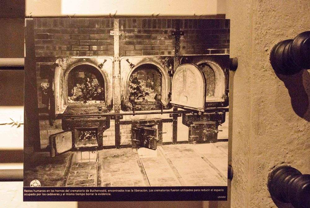 Human remains in the crematory ovens of Buchenwald