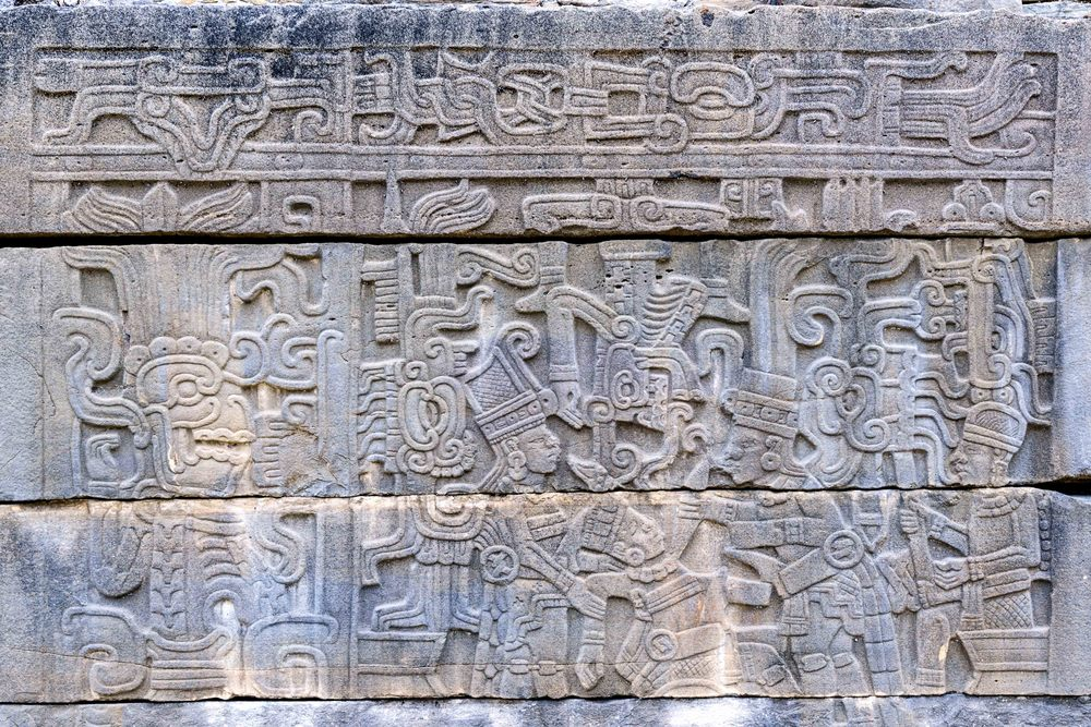 Close up of beheading on one of the panels of the South Ball Court at Tajin.