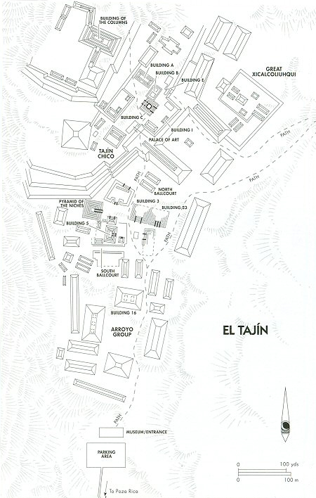 "El Tajin Site Map (from Andrew Coe's, ""Archaeological Mexico."")"
