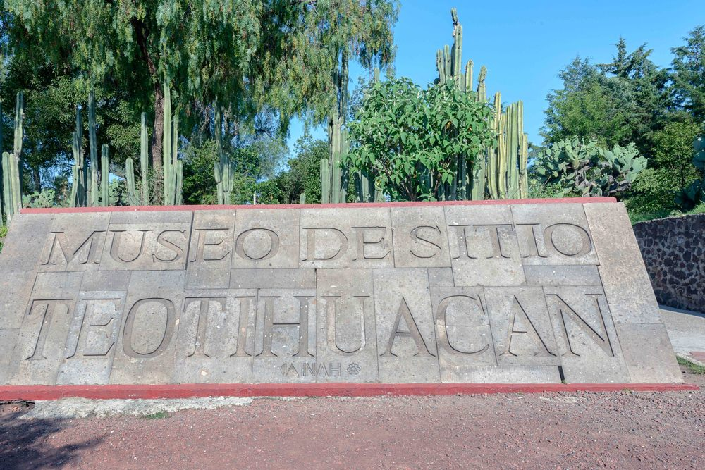"Entrance to the site museum of Teotihuacan (""the place where men becomes god"")."