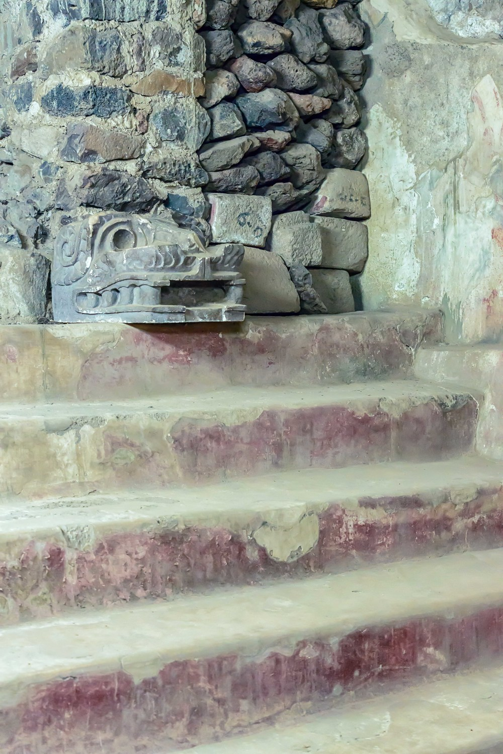 Stairway to the temple of Feathered Conch Shells, under the Palace of Quetzalpapalotl, at Teotihuacan.
