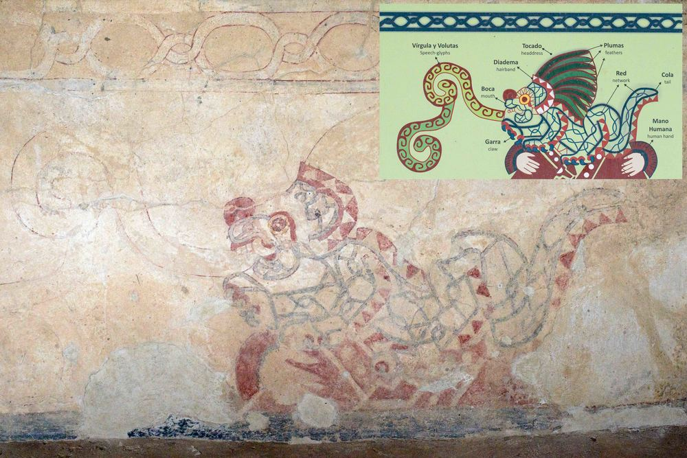 """Conjunto de los Jaguares"". The portic murals represent wild cats, each pose on a geometric figure, with two hands bearing wristbands and appearing to support them. There are two arranged symmetrically at each side of the entrance to the room. The inside walls are also decorated with the same motif."