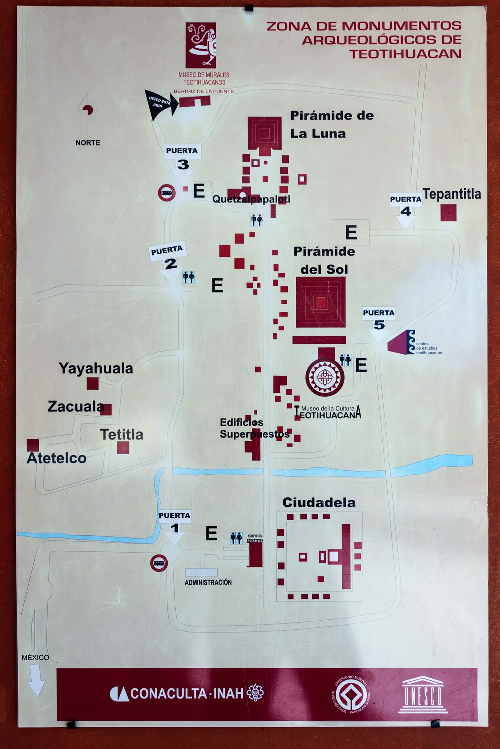 Map of Archaeological site of Teotihuacan