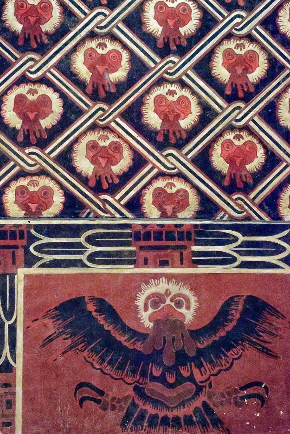 Reproduction of the Portico 25 from Tetitla. This reproduction shows some of the wall paintings that can still be found at Portico and Patio 25 at Tetitla residential complex. In this rendering of the northern wall, the eagle is shown with outstretched wings.