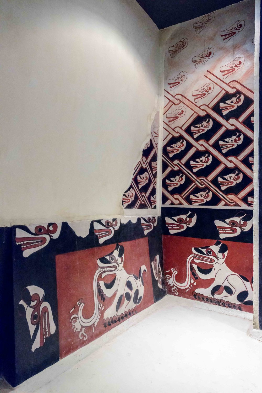 Reproduction of the Portico 25 from Tetitla. This reproduction shows some of the wall paintings that can still be found at Portico and Patio 25 at Tetitla residential complex.