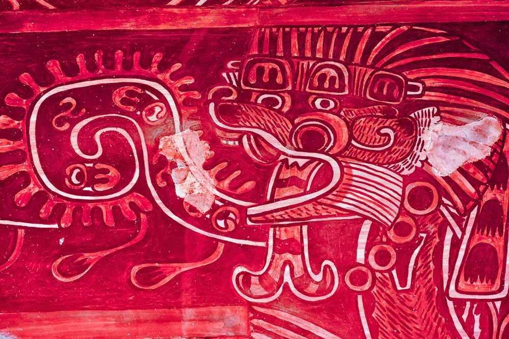 Murals in Atetelco, one of the many housing complexes near Teotihuacan.