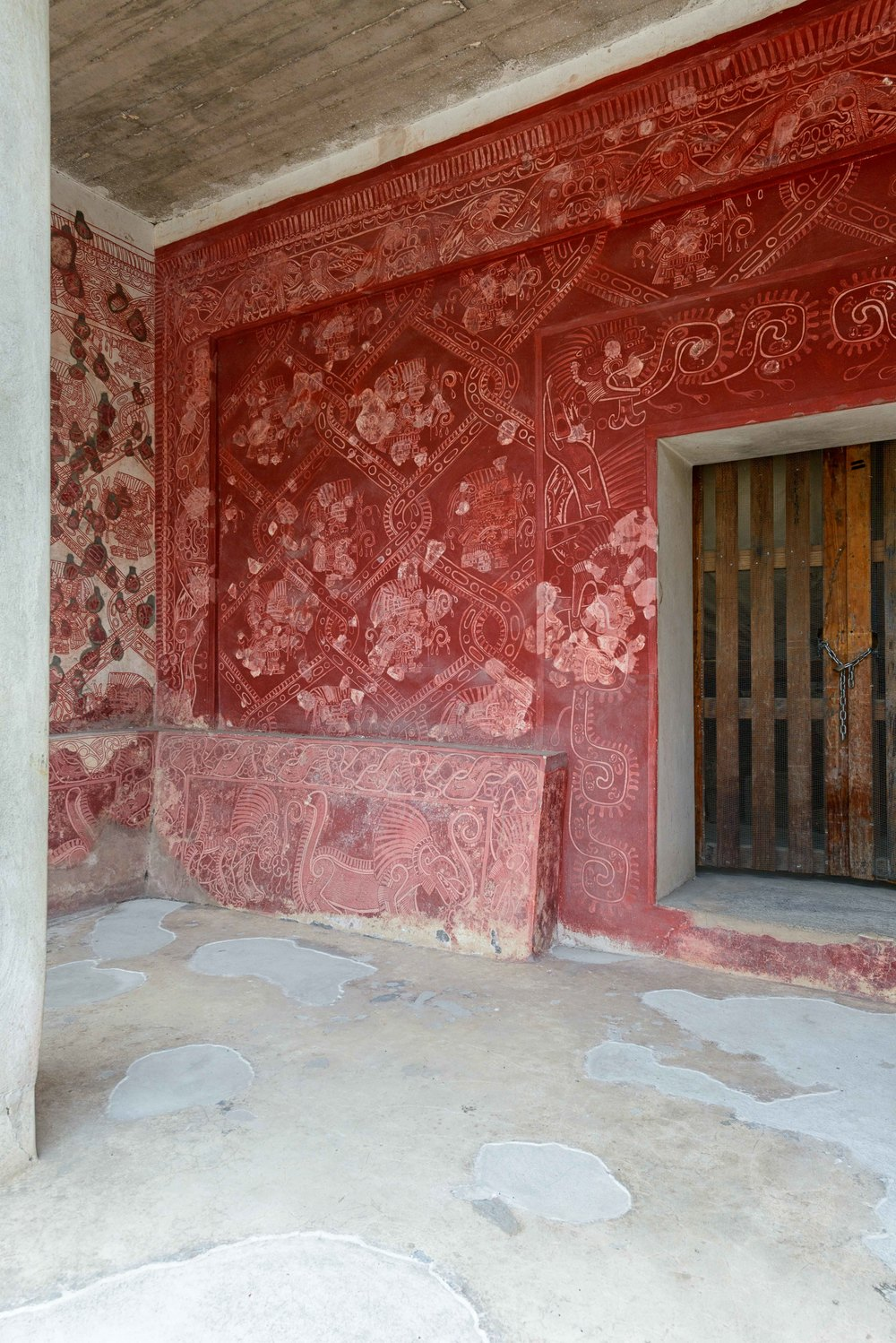View into one of the temples with murals in Atetelco.