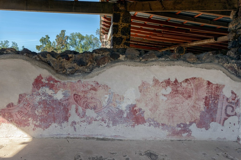 "Murals of Shields. The wall found in this section of the compound show large decorated circles which resemble ""shields"". The figures outermost part shows ornamentation made of bird feathers, while the ""reptilian eye"" glyph is seen in the central area."