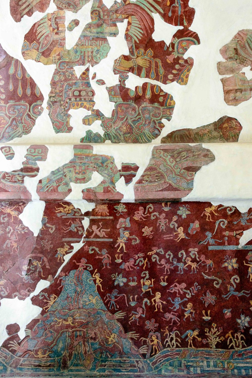 Mural from the Tepantitla compound showing what has been identified as an aspect of the Great Goddess of Teotihuacan (on top).