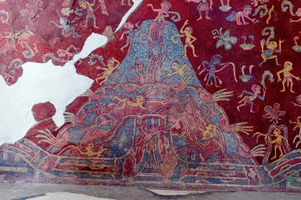 Details of the Mountain Stream mural from the Tepantitla compound which appears under the Great Goddess portrait.