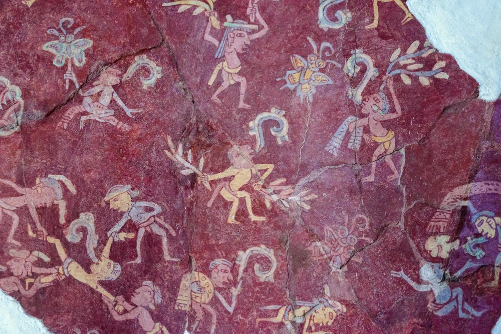 Details of the actual mural from the Tepantitla compound which appears under the Great Goddess portrait.