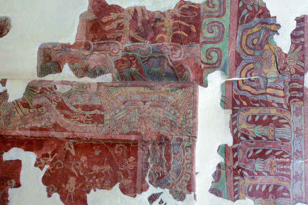 Details of the actual mural from the Tepantitla compound which appears on the sides of the Great Goddess portrait.