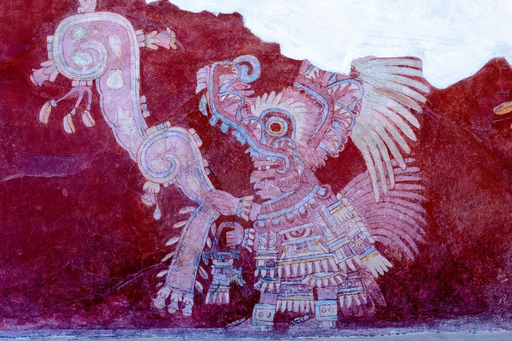 The priests are depicted in full ceremonial dress, the elaborate costume including headdresses in the shape of a snake's head. Tepantitla compound at Teotihuacan, Mexico.