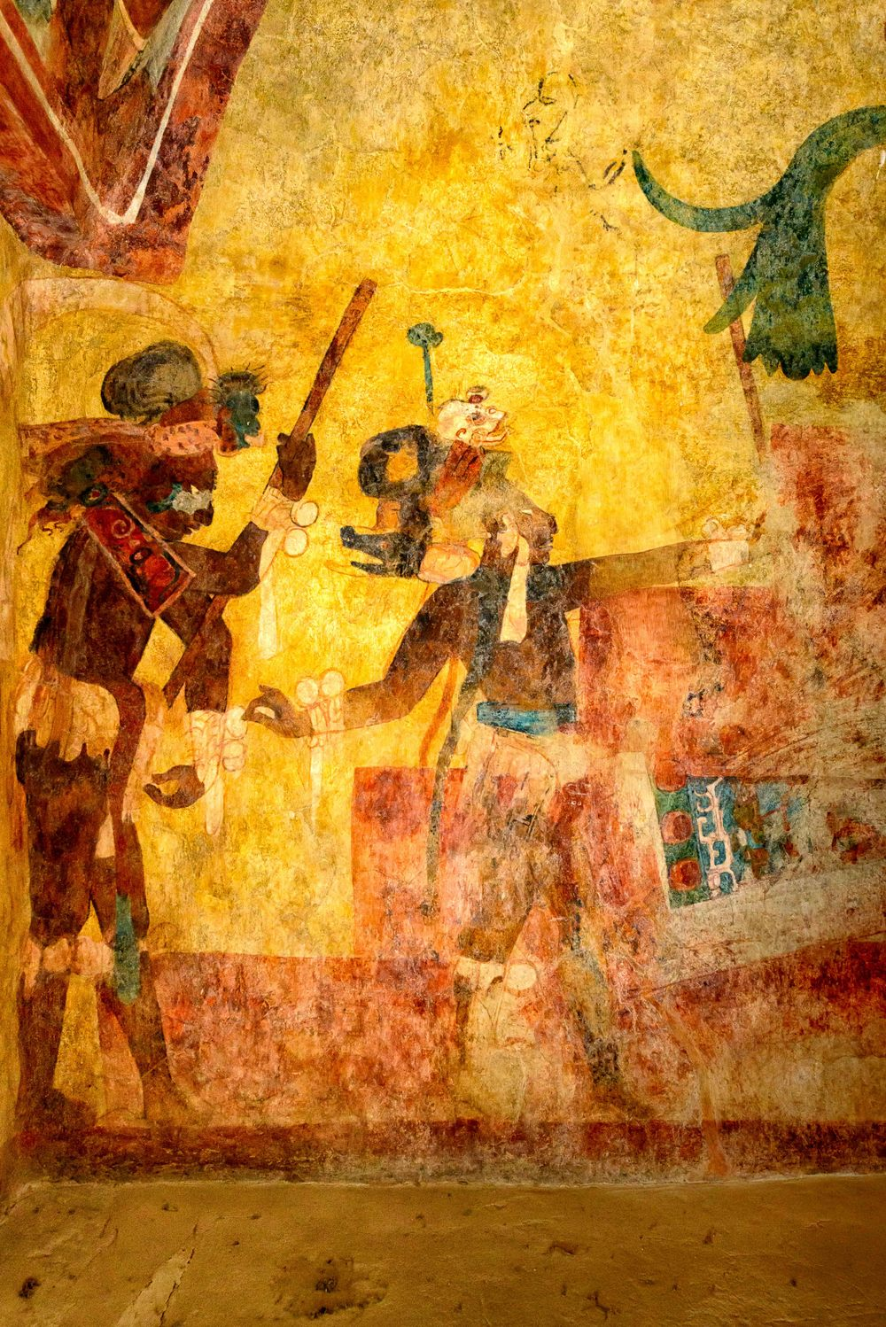 "The second room of Building 1 shows a war scene, with prisoners taken, and then the prisoners, with ritually bleeding fingers, seated before a richly-attired Chaan Muwaan II, the Yaxchilano ""governor"" of Bonampak. It is usually presumed that the prisoners are being prepared for  human sacrifice , though this is not actually shown in the murals."