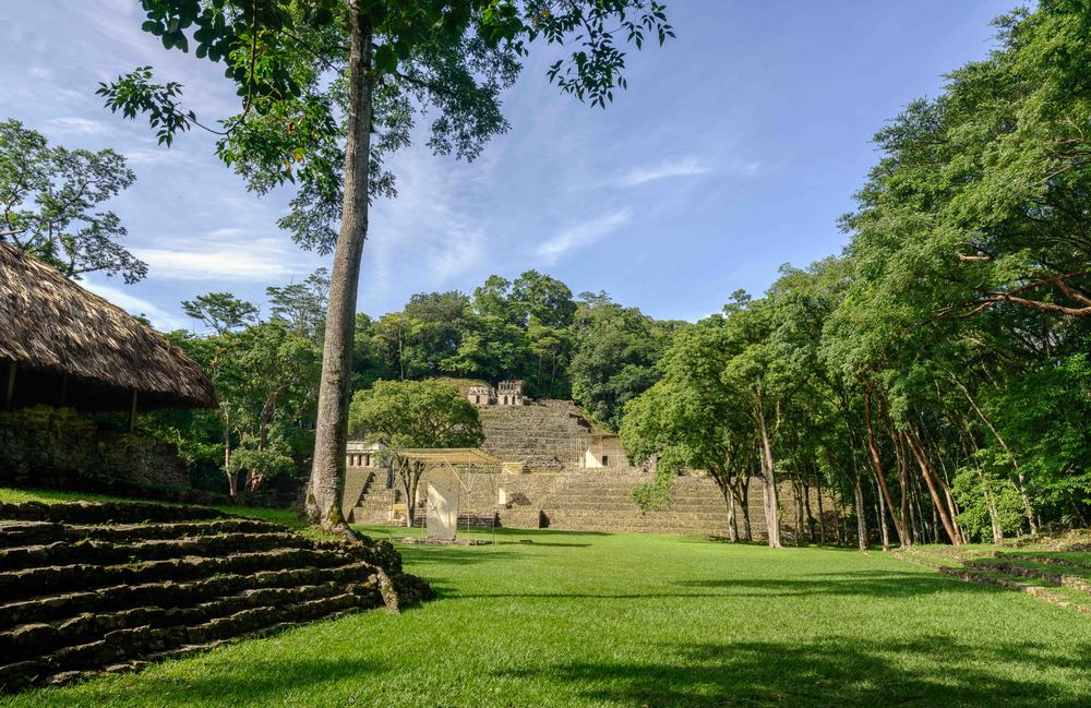 Bonampak's Great Plaza behind and Building 15 on the right when you leave Bonampak.
