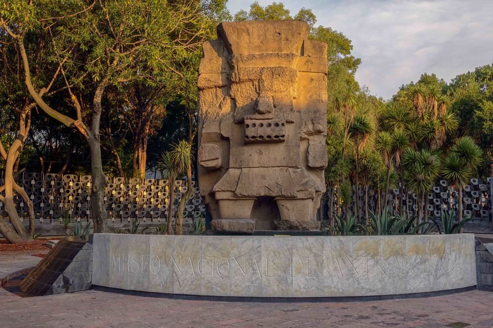 Tlaloc statue of th  e     god of rain, fertility, and water,     outside of the museum.