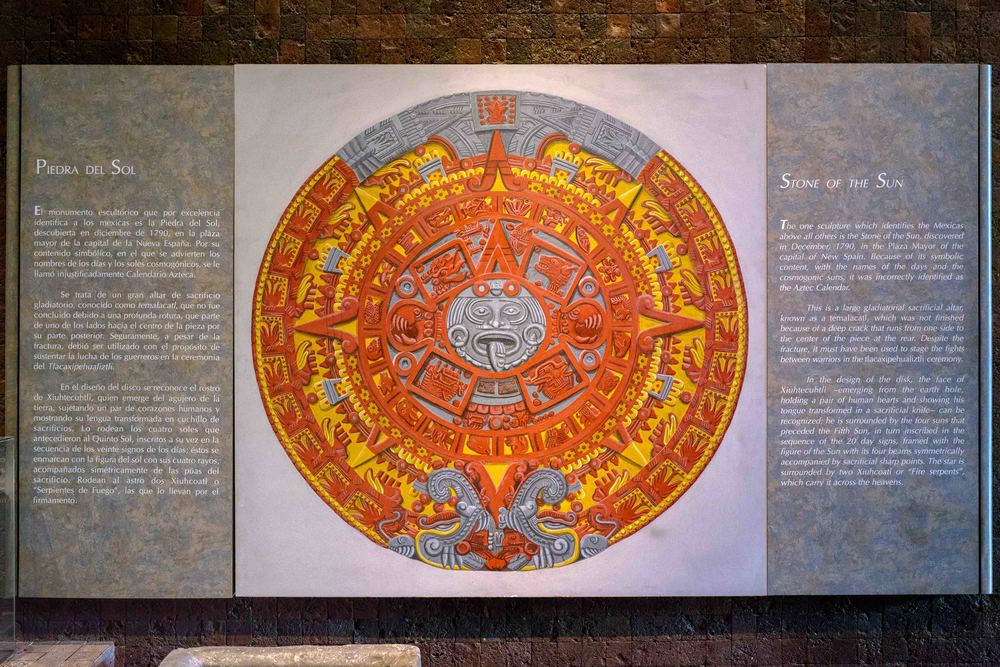 "On the right side of the original ""Stone of the Sun"" information are given: The one sculpture which identifies the Mexican above all others is the Stone of the Sun, discovered in December, 1790, in the Plazza Major of the capital New Spain. Because of its symbolic content, with the names of the days and the cosmogonic suns, it was incorrectly identified as the Aztec Calendar."