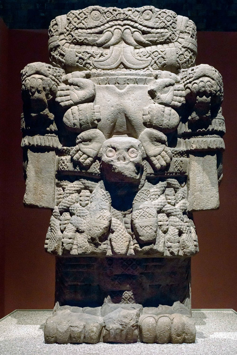 "The  Coatlicue  statue is a 2.7 metre (8.9 ft) tall andesite statue usually identified with the Aztec goddess Coatlicue (""snakes-her-skirt""), mother of earth."