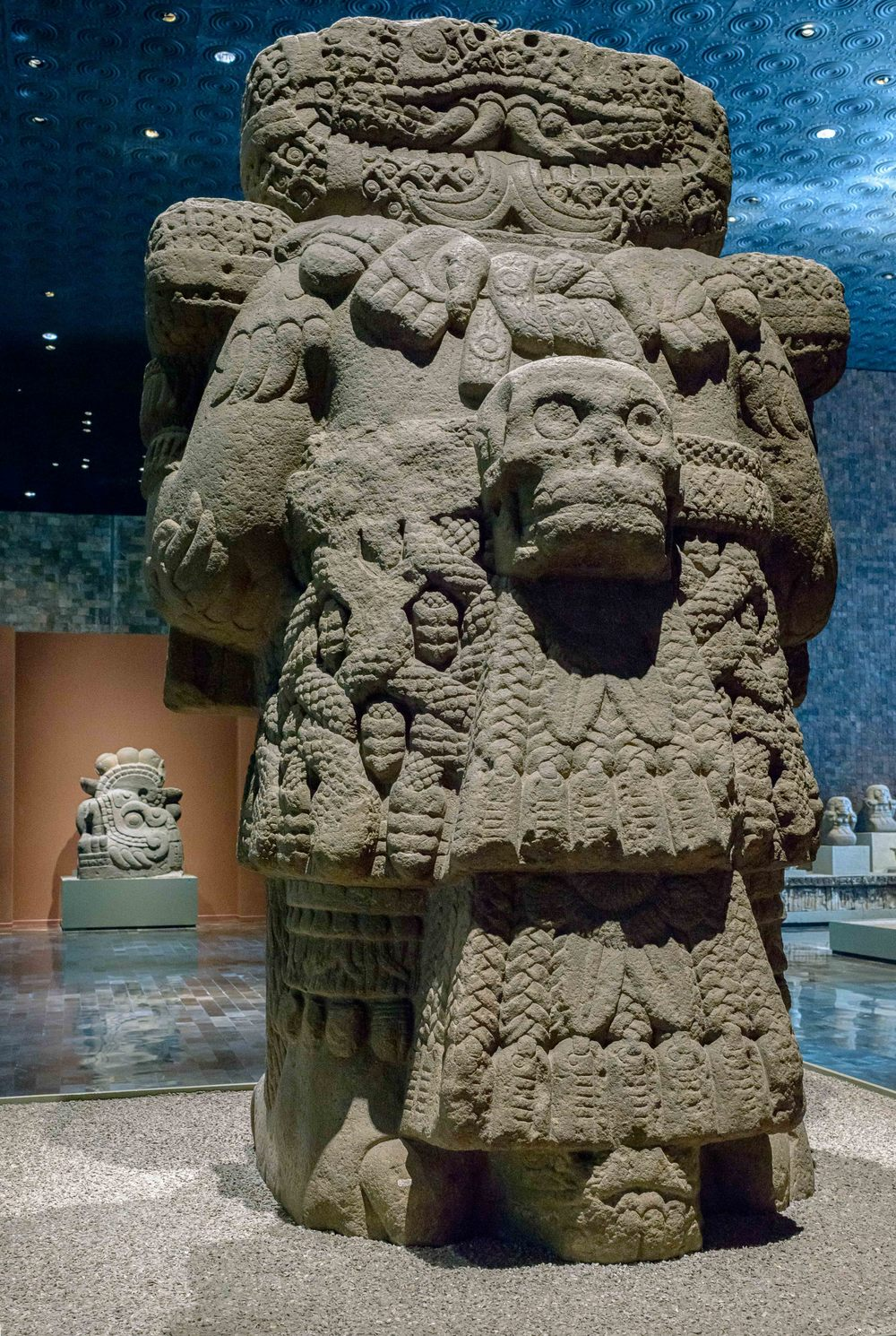 "The Aztec goddess of Coatlicue (""snakes-her-skirt""), mother of earth, from the back side."