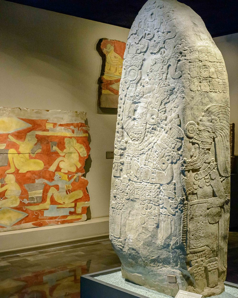 Reproduction of Stele 31 of Tikal, which reveals that the area of Teotihuacan had contact with Mayas during the Early Classic ( 250-650 bC ).