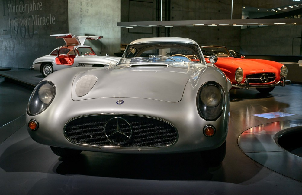 """Mercedes-Benz 300 SLR """"Uhlenhaut Coupé"""".   Daimler-Benz developed this hardtop version of the 300 SLR racing car for the 1956 season. It was never used in racing, however, because the company ceased its motorsport activities at the end of the 1955 season. Instead, the 300 SLR coupe served the head of the Test Department, Rudolf Uhlenhaut, as a company car. The nickname """"Uhlenhaut coupe"""" is a reminder of this."""