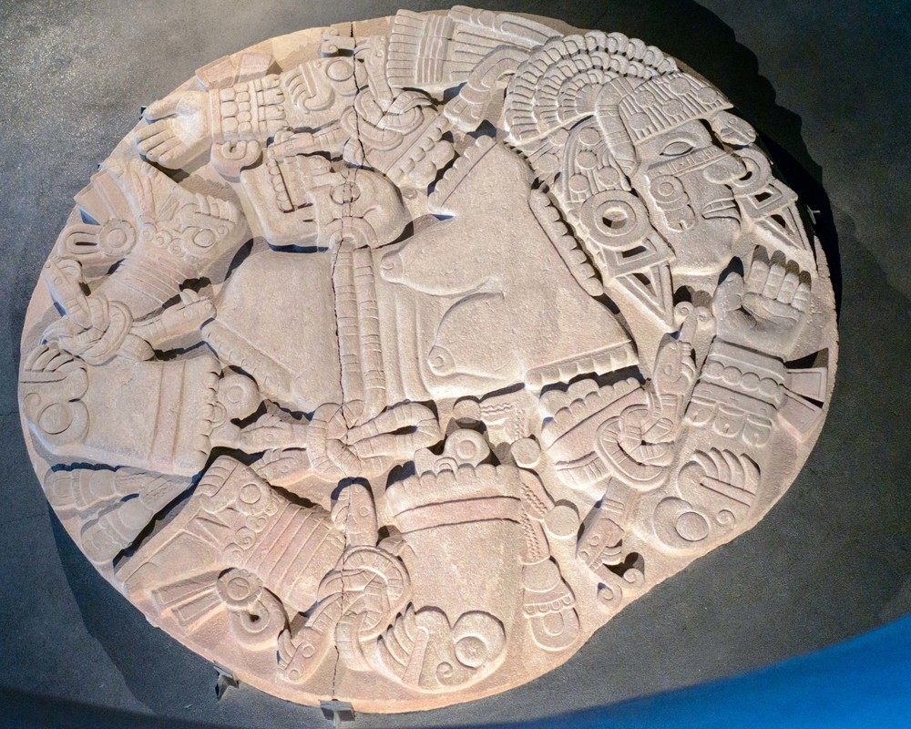 Disk depicting a  dismembered  Coyolxauhqui which was found during construction in 1978 in  Mexico City . Its discovery led to the excavation of the Templo Mayor.