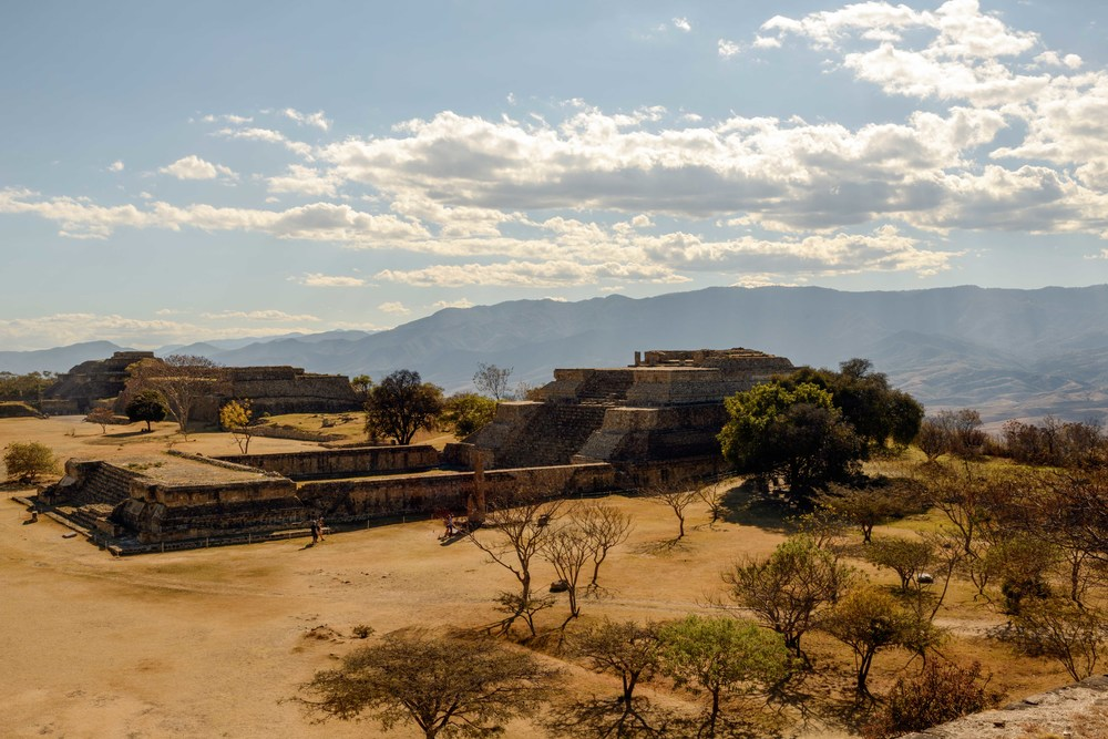 Overview over Building IV from the North Platform, Monte Alban,  Oaxaca, Mexico.