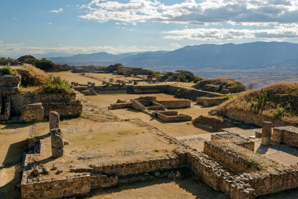 View from the North Platform to the south with the Main Plaza, The South Platform can be seen in the distance. Monte Alban,  Oaxaca, Mexico.