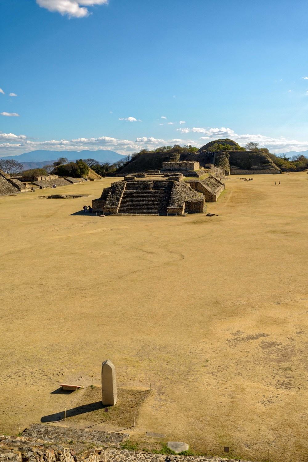 View from the North Platform over the Main Plaza, Monte Alban,  Oaxaca, Mexico.