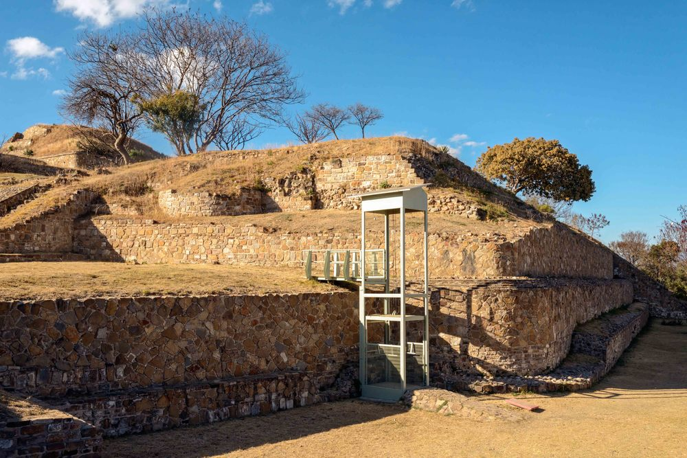 Wheelchair access at the North Platform close to the entrance to the site, Monte Alban,  Oaxaca, Mexico.