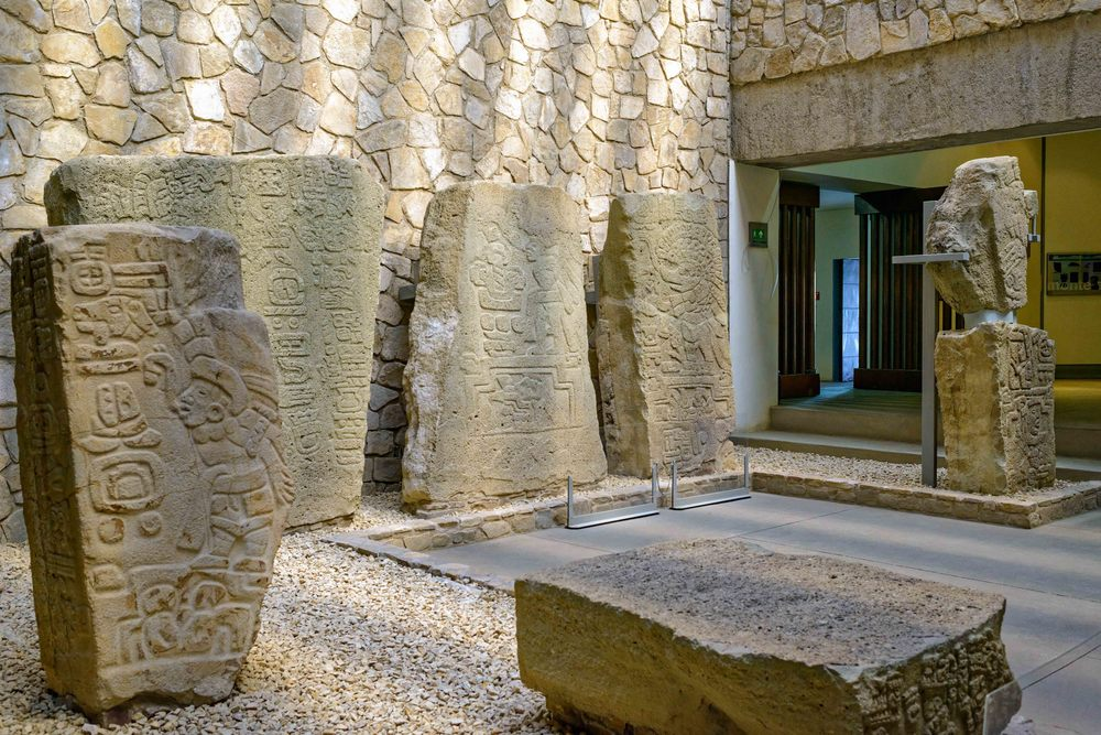 Engraved steles collection at the site museum at Monte Alban, Oaxaca, Mexico.
