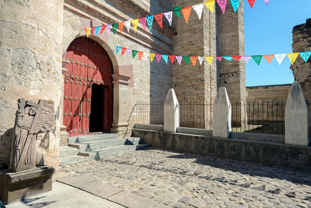 The Church or North Group lies at the entrance to the site.   In the 16th century, the Spanish built the Church of San Pablo here, which remains on top of a large pre-Hispanic platform which serves as the church atrium.