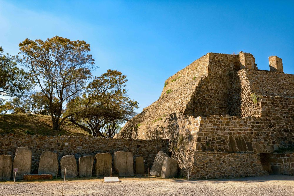 The Building of the Danzantes with reliefs of the so called dancers, Monte Alban, Oaxaca, Mexico.