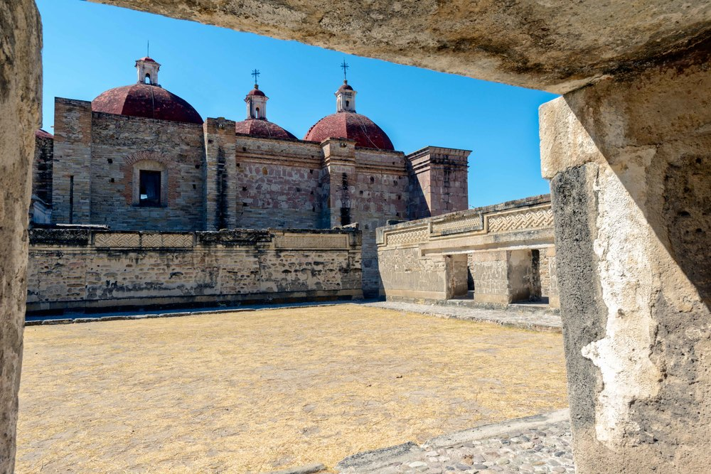 """The church group also contains the main temple, called the  yohopàe  , which translates to """"house of the vital force."""" This temple faces a large courtyard."""