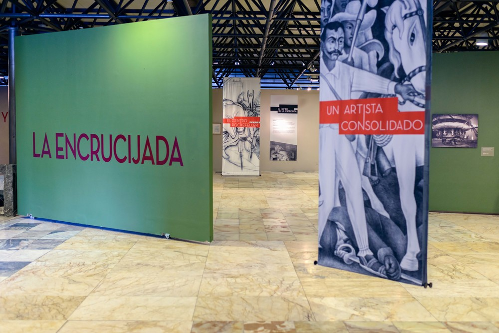 "Exhibition ""El hombre en la encrucijada"" (Man at the Crossroads), Anahuacalli Museum, Mexico City."