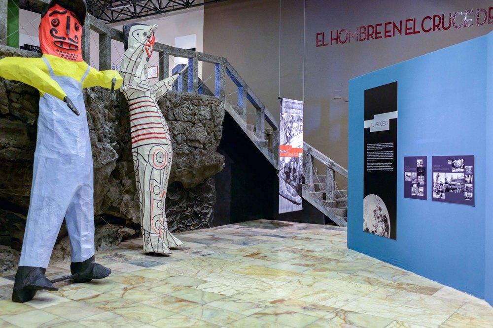 """Exhibition """"El hombre en la encrucijada"""" (Man at the Crossroads),Anahuacalli Museum, Mexico City."""