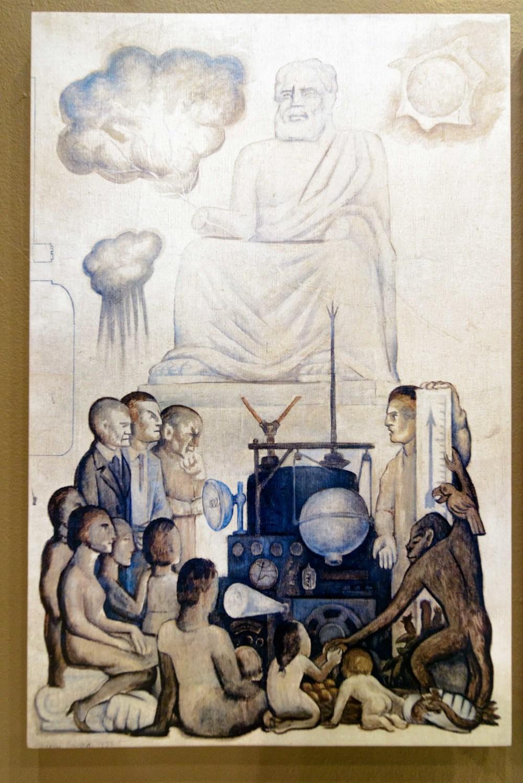 """Exhibition """"El hombre en la encrucijada"""" (Man at the Crossroads), Anahuacalli Museum, Mexico City."""