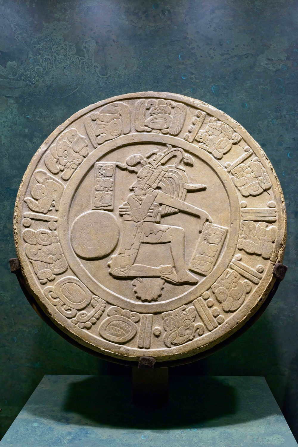 Marker ballgame. On this record figure a ballplayer appears in an attitude of hitting a ball with this hip. Chinkultic, Chiapas.