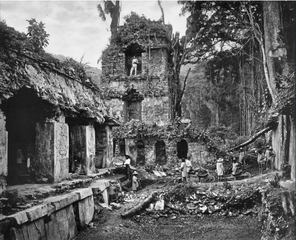 People stand amount ruins of the Palace of Palenque in Chiapas, Mexico (ca. 1890). Photographed by Alfred P. Mandalay, National Geographic Creative.