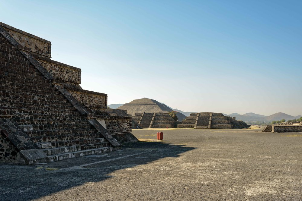 View to the Avenue of the Dead and the Pyramid of the Sun.