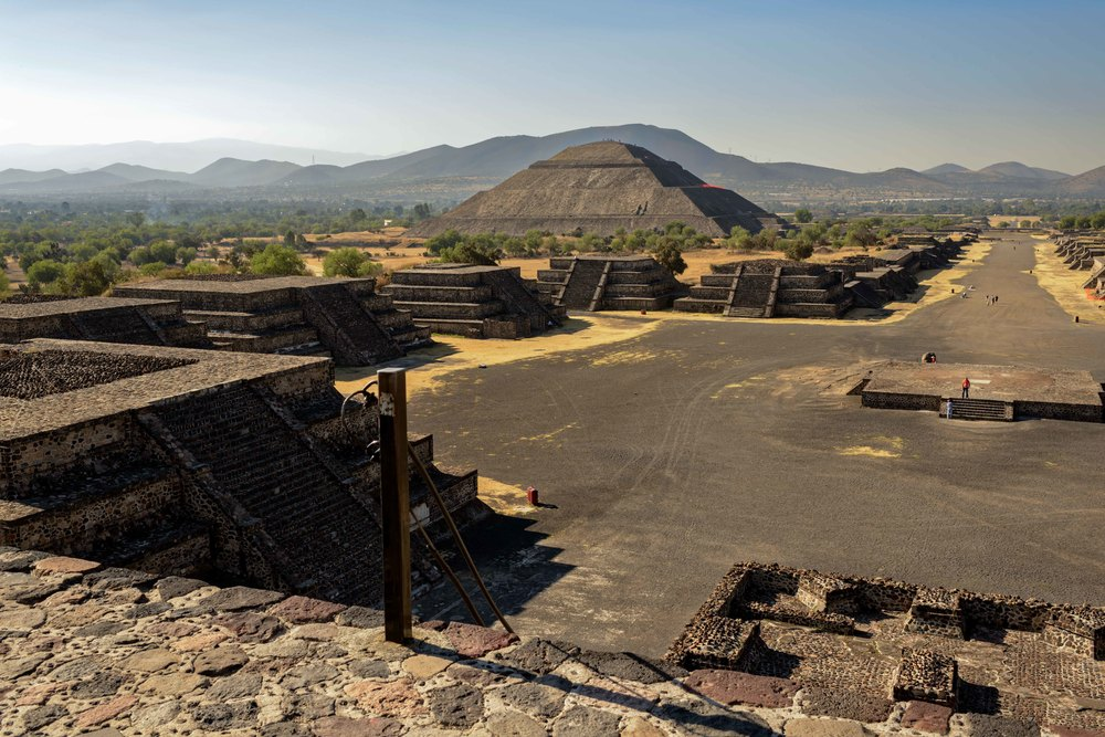 View from the Pyramid of the Moon back to the Avenue of the Dead and the Pyramid of the Sun.