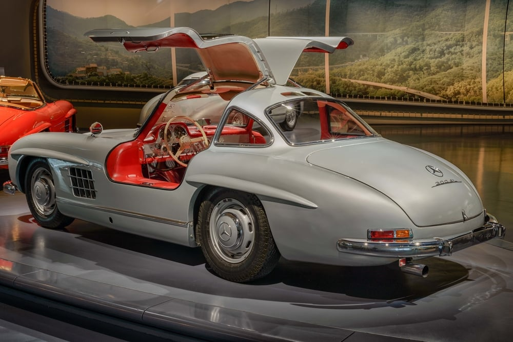 Mercedes-Benz 300 SL coupé.   The 300 SL production sports car presented in 1954 was based on the successful competition version of 1952.